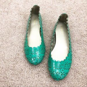 Coach Green Carson Flats Jade Laser Cut Scalloped